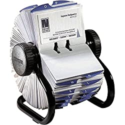 Rolodex Open Rotary Business Card File With 200 2-58 By 4 Inch Card Sleeve & 24 Guide, 400-card Cap, Black (67236)