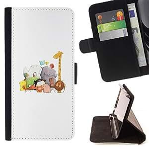 For HTC One M7 Case , Zoo Blanca Dibujo Jirafa Hipona- la tarjeta de Crédito Slots PU Funda de cuero Monedero caso cubierta de piel