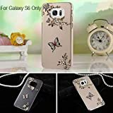 KC 3D Printed Butterfly and Flowers with Crystals Soft Transparent Case Back Cover for Samsung Galaxy S6