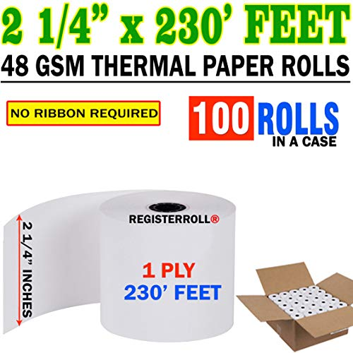 2 1/4 in. (56 mm) x 230 ft 100 Rolls Thermal Printer Rolls | Mega Value Pack | Made in USA from RegisterRoll