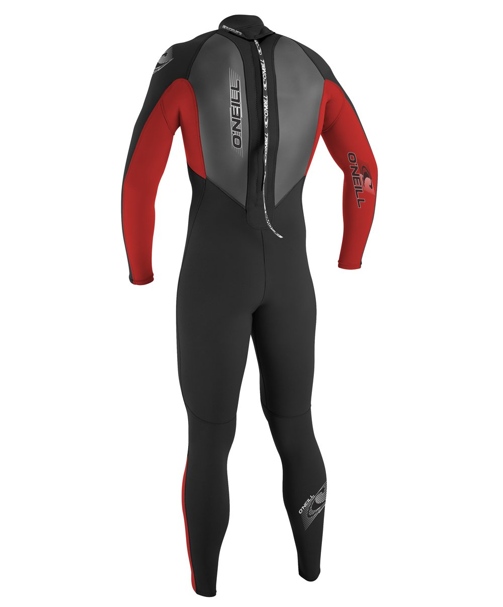 O'Neill Youth Reactor 3/2mm Back Zip Full Wetsuit, Black/Red/Graphite, 8 by O'Neill Wetsuits (Image #3)