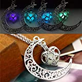 Barogirl Luminous Necklace Crescent Moon Glow Pendant Necklaces Love Heart Silver Plated 2 PCS (Set 1)