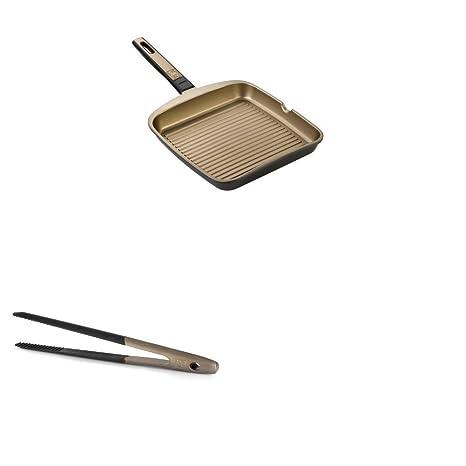 BRA Terra - Set de grill asador con rayas de 28 cm y pinzas de cocina
