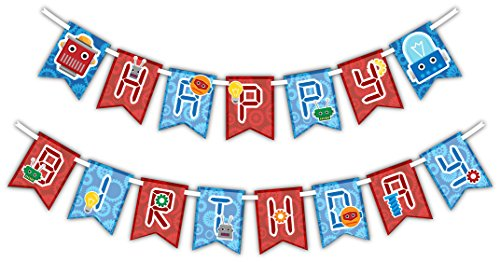 Robot Happy Birthday Party Banner Decoration (Includes 23ft (Birthday Robot)