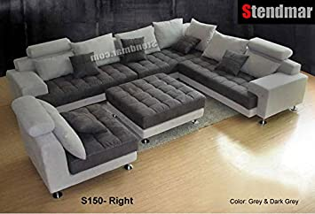 Superbe 5PC NEW MODERN GRAY MICROFIBER BIG SECTIONAL SOFA SET S150RG