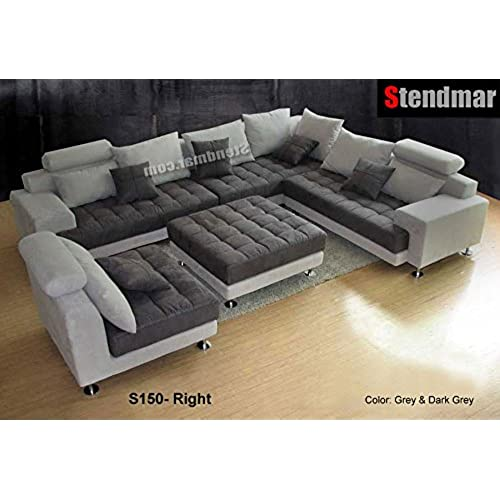5pc new modern gray microfiber big sectional sofa set s150rg KIG6843A