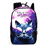 Student Daypack, TechCode Cute 3D Cartoon Printing Zipper College Backpacks Fashion School Bags Casual Canvas Backpack Laptop Cool Shoulder Bag for Sport, Hiking, Cycling, Gym, Outdoor Camping (A02)