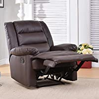 Soges Luxurious Manual Recliner Chair Leather Sofa Large Lounge Sofa Home Theatre Chair Living Room Chair, Brown 501-BR