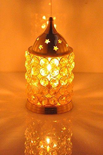 CraftVatika Akhand Diya Crystal Brass Dia Oil Lantern Tealight Holder | X'mas Gifts | X'mas Decoration | X'mas Decorative Lantern | (Medium) by CraftVatika