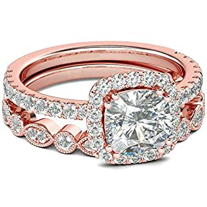 AONEW Engagement Wedding Halo Ring Set Rose Gold 2pcs 1.5ct Princess White Cz Size 5-12 Size 5