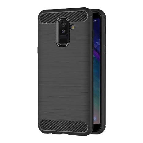 AICEK Funda Samsung Galaxy A6 Plus 2018, Negro Silicona Fundas para Samsung A6 Plus 2018 Carcasa Galaxy A6 Plus 2018 Fibra de Carbono Funda Case (6,0 ...