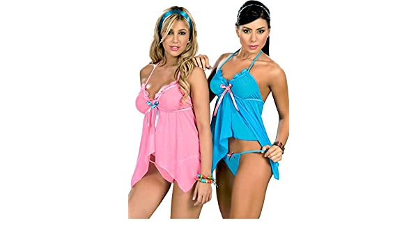 Amazon.com  Espiral 7019 Lady Sexy Blue Pink Baby Doll Teddy Lace Lingerie  Thong G-String S M L XL(XL Hot Pink)  Clothing ee3f1cdf0