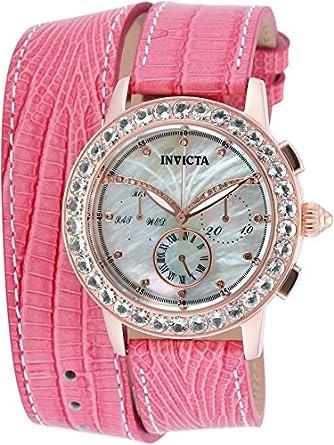 b720b6eac56 Amazon.com  Invicta Women s Angel Dust Quartz 3.25ctw Morganite   Diamond  Pink Leather Wrap Strap Watch  Watches