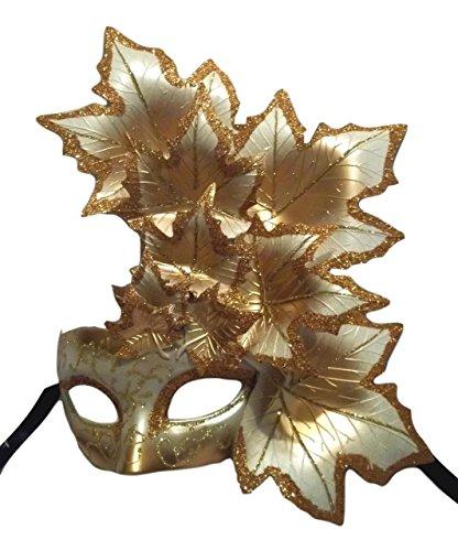 White Gold Cascade - MGPS White Gold Leaf Cascade Mask Masquerade Prom Mardi Gras