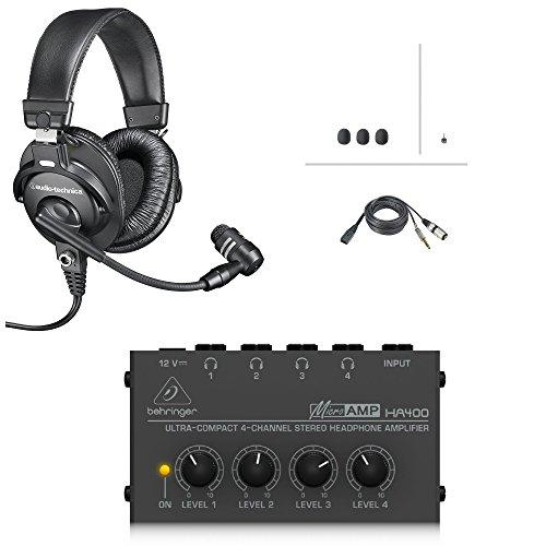 [해외]다이나믹 붐 마이크와 헤드폰 앰프 번들이 있는 오디오 테크니카 BPHS1 방송 스테레오 헤드셋 / Audio-Technica BPHS1 Broadcast Stereo Headset with Dynamic Boom Mic and Headphone Amp Bundle