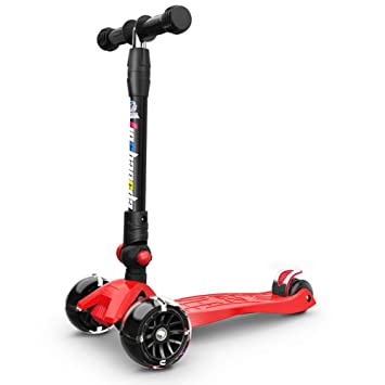 Triciclos Scooter Plegable de 3 Ruedas con Ruedas Intermitentes de PU para Boy Girl Children, Kick Scooter para niños de 2 a 12 años, Rojo: Amazon.es: Hogar