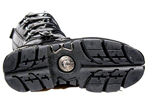 Smart Range New Rock M.272-S1 Métallisé Noir Goth Knee Haut Zip Bottes Boucle en Cuir 3Z8O5