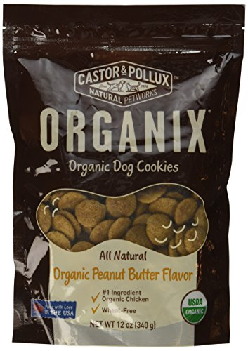 - Organix, Organic Dog Treat Cookies Peanut Butter, 12 oz