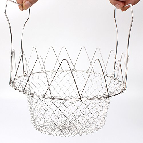 ,Langxian Multi-function Stainless Steel Kitchen Tool Steam Rinse Strain Fry Cooking Mesh Net Strainer Colander (Chefs Basket)