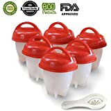 EZY Eggs 6 Pack Non Stick Silicone Egg Cooker Maker, Hard & Soft boiled Eggs without the shell AS SEEN ON TV, BPA Free