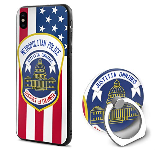 Kelelcq Metropolitan Police Department iPhone X Mobile Phone Shell Ring Bracket 5.8 ()
