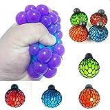 6cm Stress Relief Squeeze Grape Vent Ball Toy Soft Rubber Hand Toy Random Color--1 Pcs