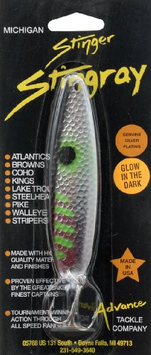 Advance Tackle 4.25-Inch Green Glow Stingray Spoon, Green