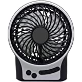 Mini Fan Portable TB Desk Table Fan Quite with Night Light & Flash Light 3 Speeds Small Tent Fan with 2 Rechargeable Batteries USB Cable & Crosshead Screwdriver for Travel Campaign or Bedroom/Office
