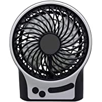 Mini Fan Portable TB Desk Table Fan Quite with Night Light & Flash Light 3 Speeds Small Tent Fan with Rechargeable Batterry USB Cable & Crosshead Screwdriver for Travel Campaign or Bedroom/Office