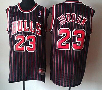 Michael Jordan Mens XXL NBA Authentic Chicago Bulls Jersey Black with Red Stripes