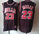 NBA Chicago Bulls Black Red Stripe Jersey, Michael Jordan (Adult XX-Large=2XL)