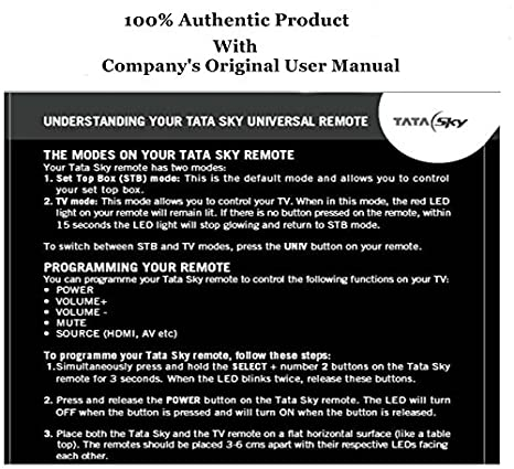 buy tata sky original universal remote controller directly from rh amazon in tata sky hd box user manual tata sky plus hd user guide