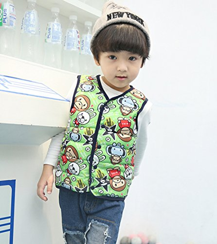 Cartoon Warm Children Wadded Jacket green Kids Vest Lightweight monkey Lemonkids;® Outfits dqE1tnt