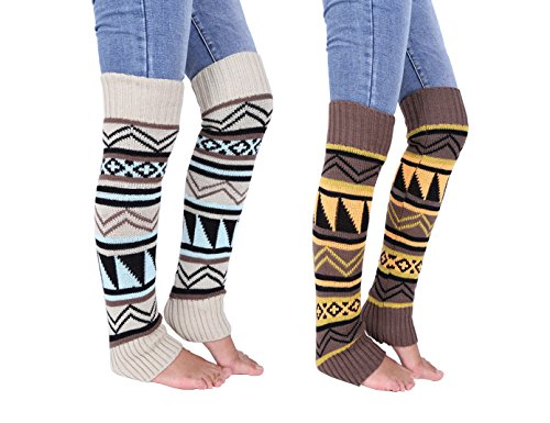 Anlaey Cable Knit Leg Warmers Knitted Crochet Boot Socks for ()