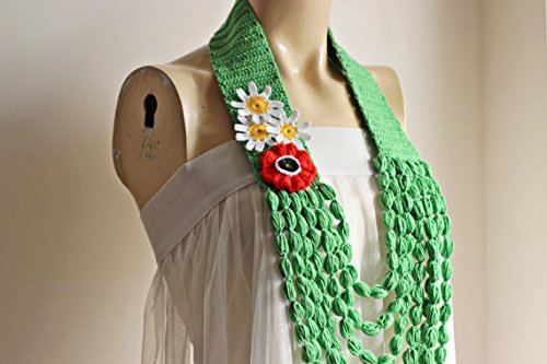 - Green Necklace-Crochet Necklace- Jewelry Scarf-Poppy and Daisy Necklace-Handmade Loop Scarf -Cotton Summer Scarf-Vegan Scarf