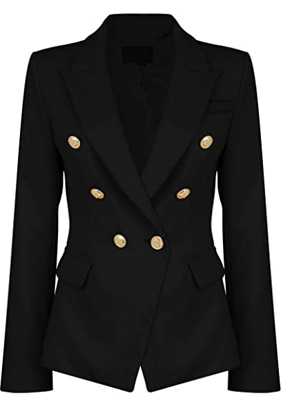 VIEMA MODA Womens Double Breasted Military Style Blazer Ladies ...