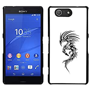 For Sony Xperia Z3 Compact , S-type® White Ink Tattoo Black Decal Ink - Arte & diseño plástico duro Fundas Cover Cubre Hard Case Cover