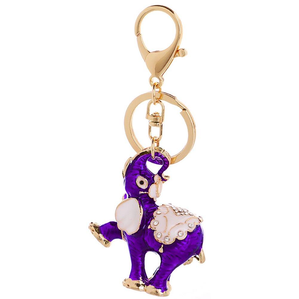 CqmzpdiC Key Holder, Elephant Pendant, Hanging Ornament, Rhinestones Inlaid Cute Elephant Rhinestones Car Keychain Key Rings Bag Hanging Ornaments Pendant - Purple