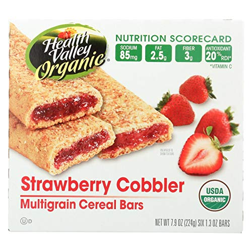 Health Valley Organic Multigrain Cereal Bars - Strawberry Cobbler - Case of 6 - 7.9 oz. ()