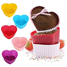 GreKitchen Baking cups/Silicone Baking Cups/ muffin baking cup/Cupcake liners Reusable and Nonstick Heat Resisitant/Rainbow Bright Standard 12-pack Heart-Shaped baking set