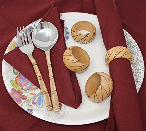 SKAVIJ Napkin Rings Set of 6 Brown for Wedding Banquet Table Dinner Decor Favor Natuaral Wood by SKAVIJ (Image #1)