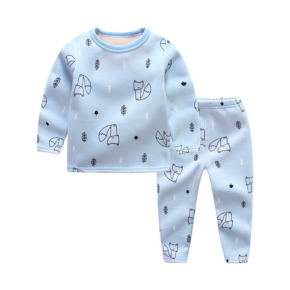 2Pcs Little Girls Boys Thermal Underwear,Autumn Winter 100/% Cotton Breathing Long Johns Pajamas Sets