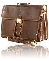 "Timmari-""Oak"" Italian Leather Business Briefcase"