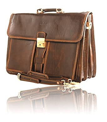 Timmari-Oak Italian Leather Business Briefcase