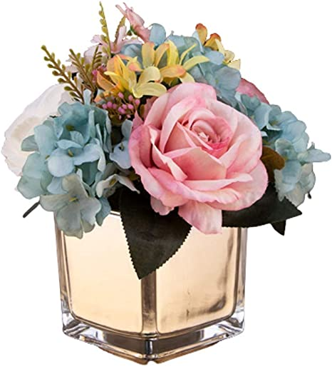 Amazon Com Artificial Flower Fake Silk Rose Fake Flower Ornament Square Vase Used For Home Decoration Living Room Study Bedroom Coffee Table Color B Home Kitchen
