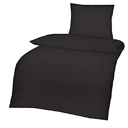 4 tlg Uni Bettwäsche 135x200 Grau Einfarbig Renforce Garnitur Set 100/% Baumwolle