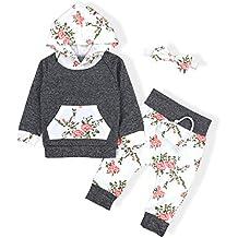 Oklady Baby Girls Long Sleeve Flowers Hoodie Tops and Pants Outfit With Kangaroo Pocket Headband