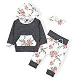 : Baby Girls Long Sleeve Flowers Hoodie Tops and Pants Outfit with Kangaroo Pocket Headband