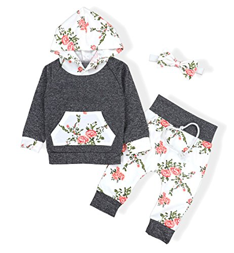 Baby Girls Long Sleeve Flowers Hoodie Tops and Pants Outfit with Kangaroo Pocket Headband(0-6 Months)
