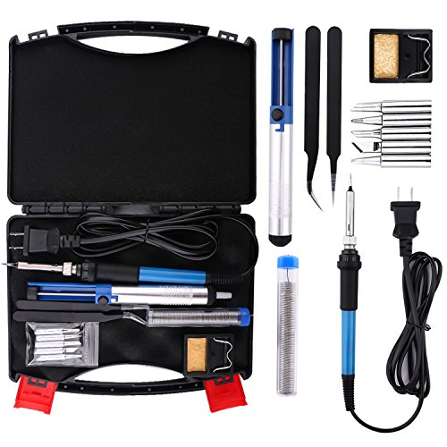 Electric Soldering Iron Kit - Housolution 60W 110V Temperature Controller Welding Tool Outdoor Portable Repair Tool Handle DIY Kit with Carry Case, 5pcs Tips, Desoldering Pump, Stand, Tweezers (Heater Core Box)